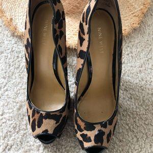 Calf hair leopard pumps High heel Nine West